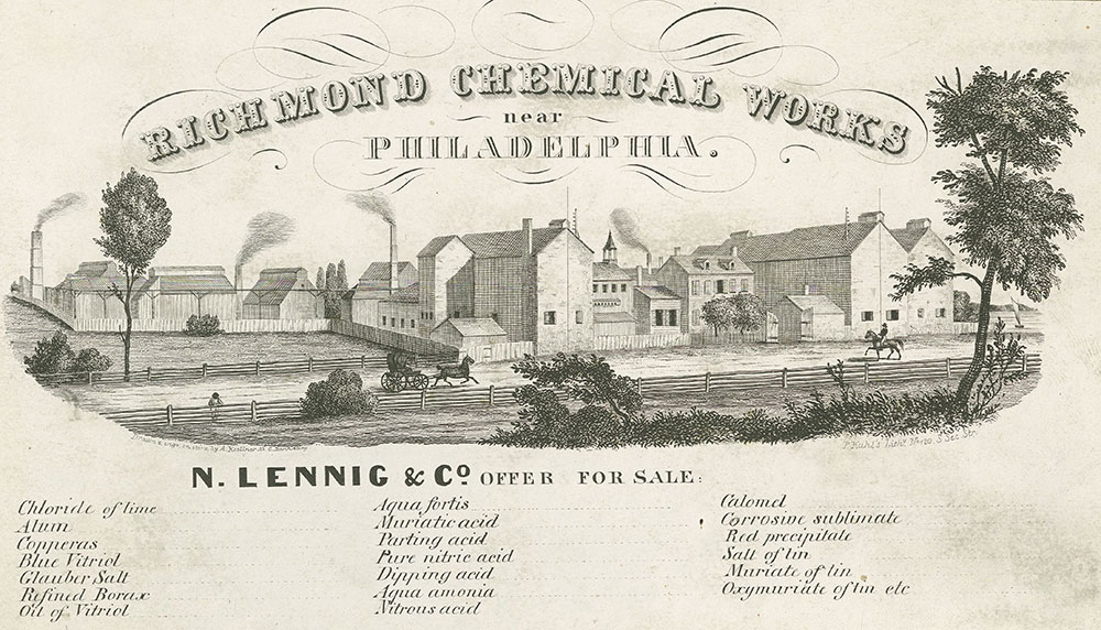 Richmond Chemical Works near Philadelphia. [graphic] : N. Lennig & Co. Offer for sale / Drawn engr. on stone by A. Kollner No. 6 Bank Alley.