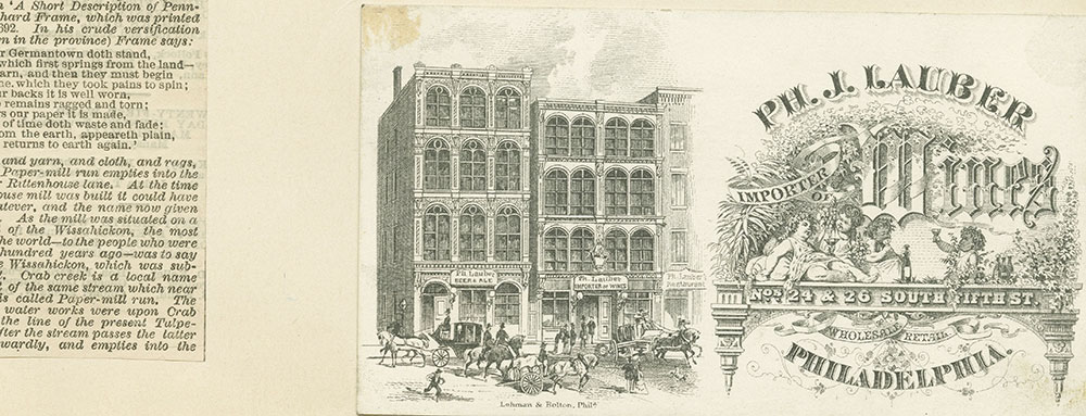 Ph. J. Lauber importer of wines. Wholesale retail. Nos. 24 & 26 South Fifth St. [graphic].