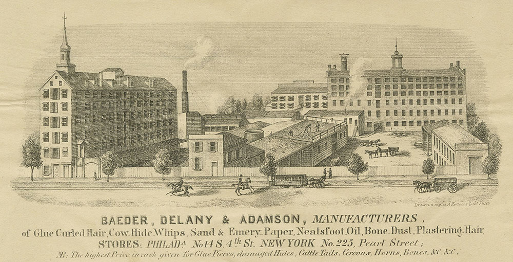 Baeder, Delany & Adamson, manufacturers of glue curled, cow hide whips, sand & emery paper, neatsfoot, oil, bone, dust, plastering hair. [graphic]