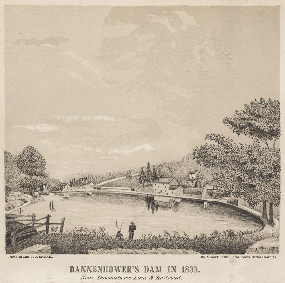 Dannenhower's [sic] Dam in 1833. Near Shoemaker's Lane & Railroad. [graphic] / Drawn on zinc by J. Richards.