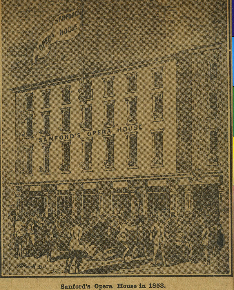 Sanford's Opera House in 1853