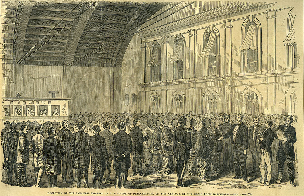 Reception of the Japanese Embassy by the Mayor of Philadelphia on the Arrival of the Train from Baltimore