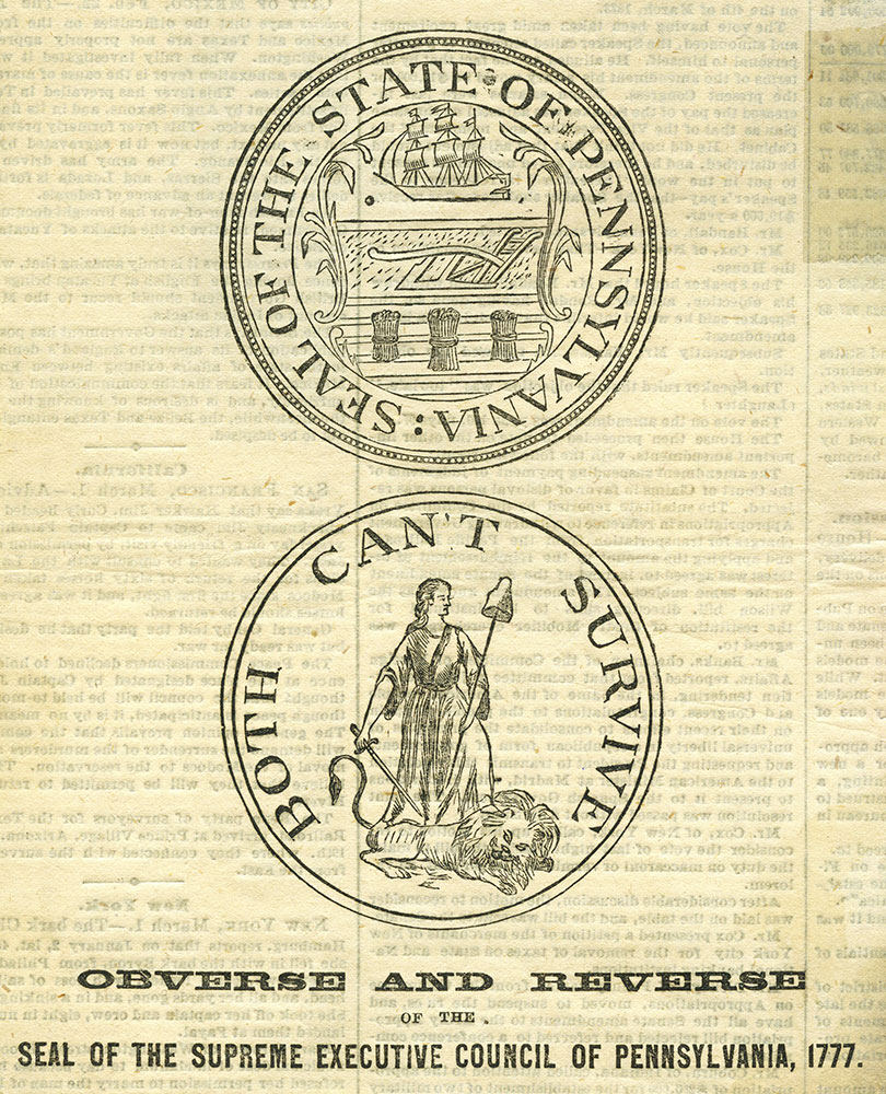 Seal of the Supreme Executive Council of Pennsylvania, 1777.
