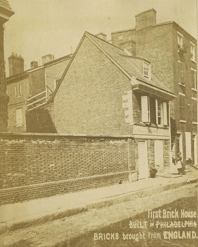 First brick house built in Philadelphia.