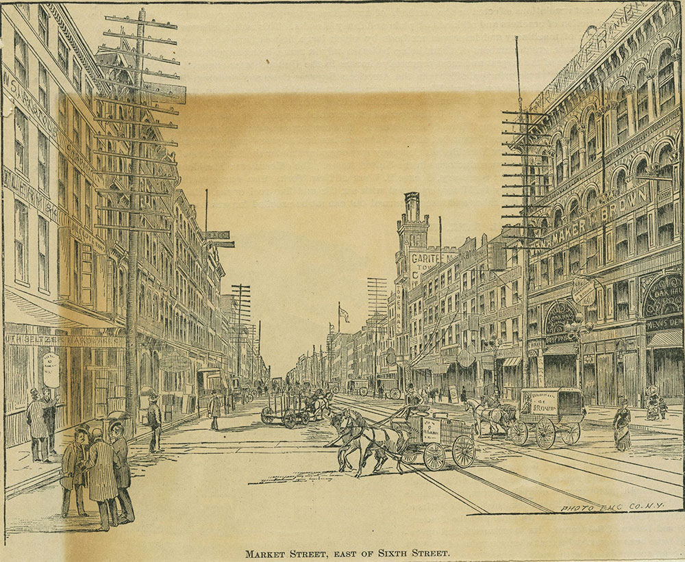 Market Street, east of Sixth Street.