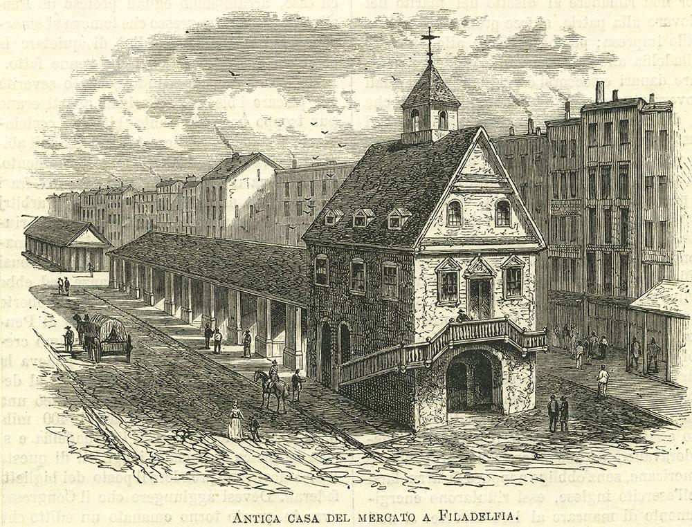 Antica casa del mercato a Filadelfia.
