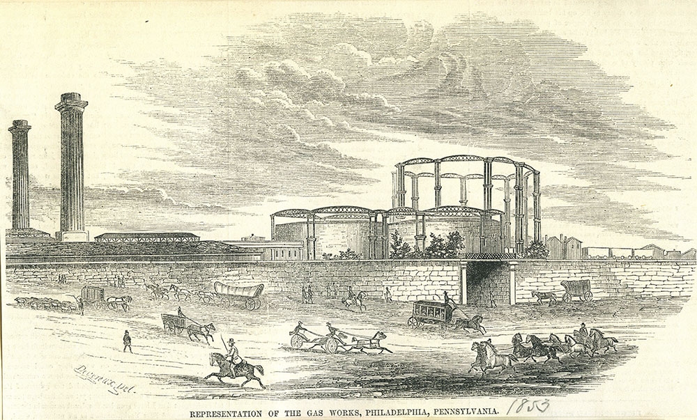 Representation of the Gas Works, Philadelphia, Pennsylvania.