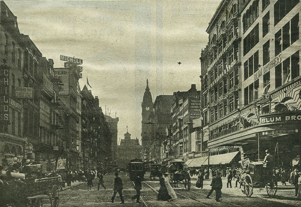 Market (High) Street, looking West from Tenth Street, as it appears in 1907.