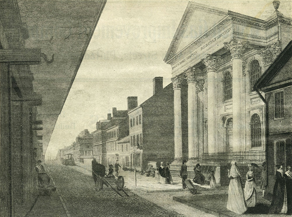 High (Market) Street, with the First Presbyterian Church, Philadelphia, in 1800.