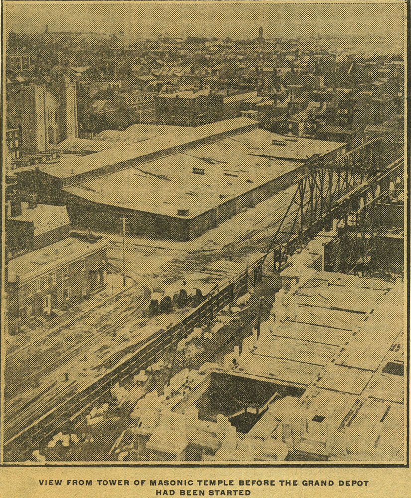 View from tower of Masonic Temple before the Grand Depot had been started.