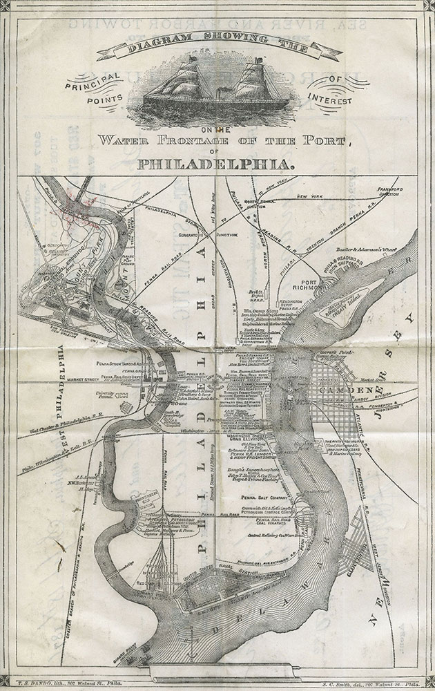 Diagram showing the principal points of interest on the water frontage of the port of Philadelphia