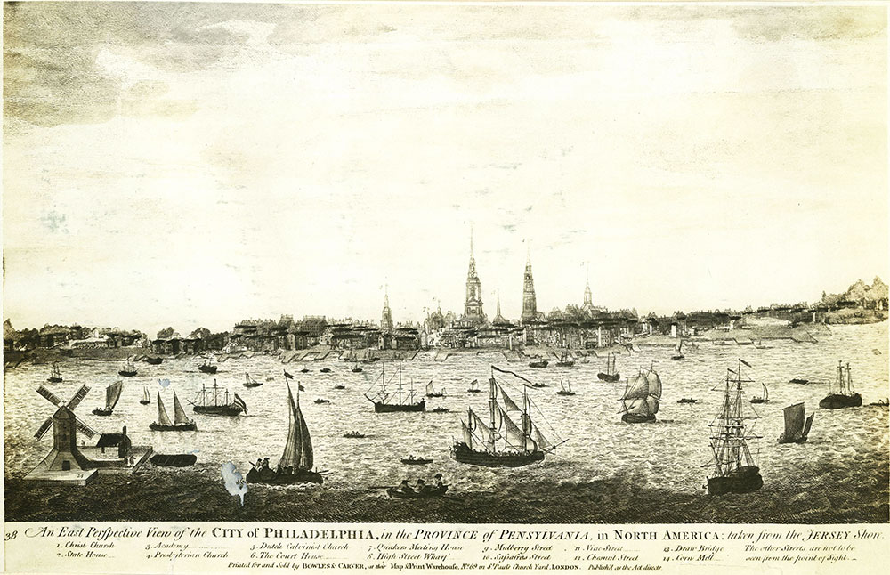 An East Perspective View of the City of Philadelphia, in the Province of Pennsylvania, in North America