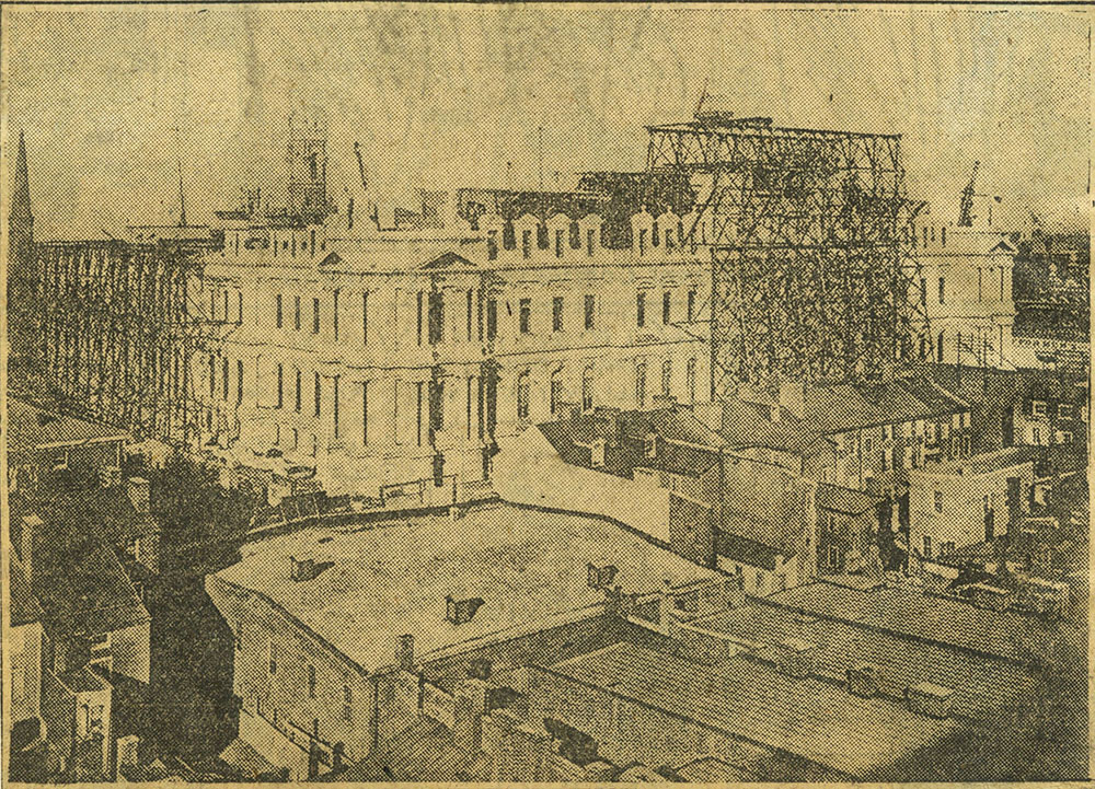 View of the City Hall while under construction.