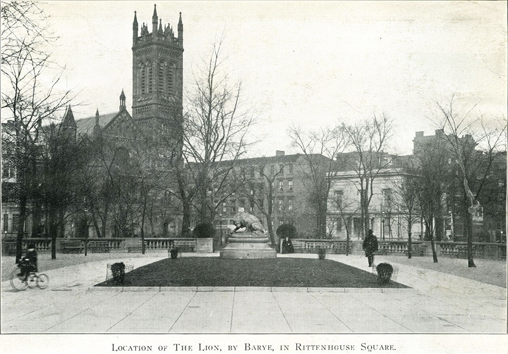 Location of The Lion, by Barye, in Rittenhouse Square.