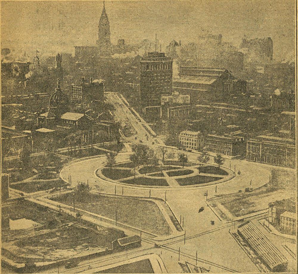 Glimpse of Philadelphia from a captive balloon.