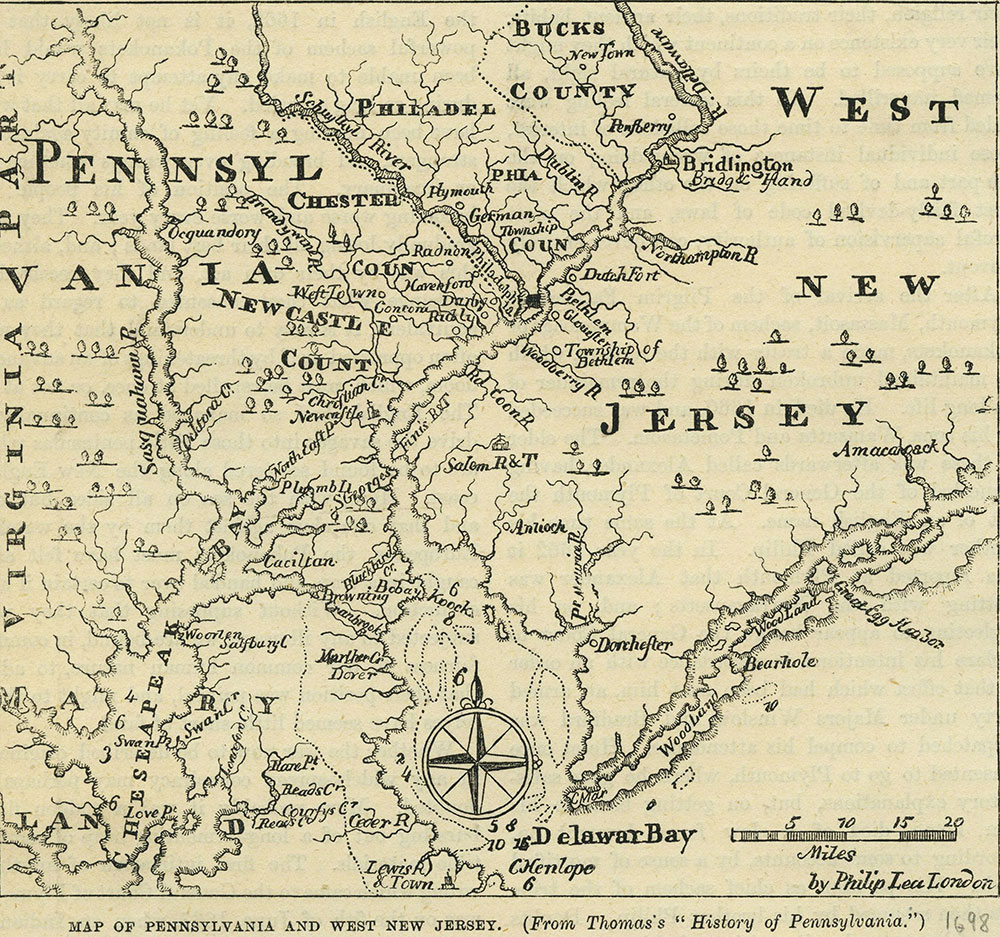 Map of Pennsylvania and West New Jersey.