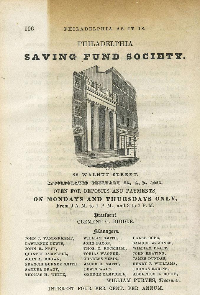 Philadelphia Saving Fund Society.