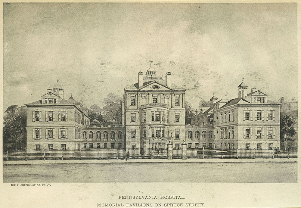 Pennsylvania Hospital. Memorial pavilions on Spruce Street.