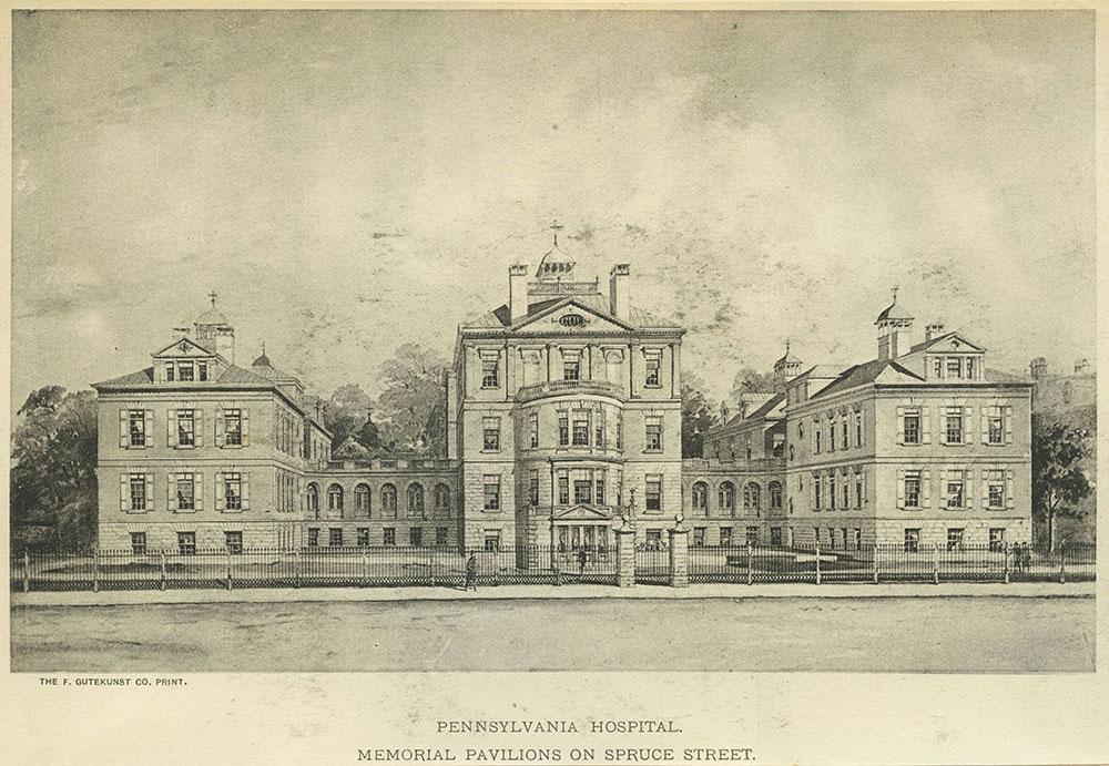Pennsylvania Hospital. Memorial pavilions on Spruce Street.