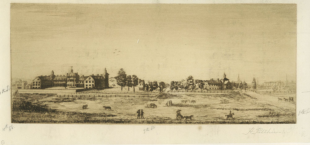 A view of the Almshouse, Pennsylvania Hospital and Part of