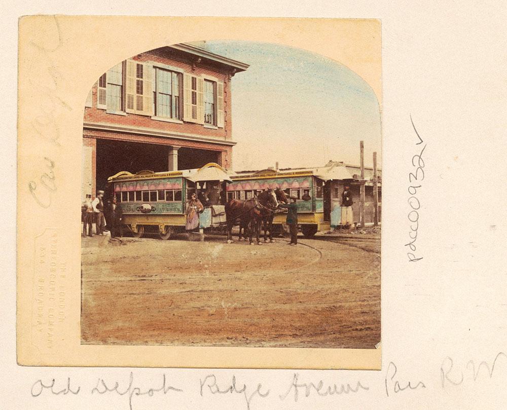 Horse-drawn Streetcar. Ridge Avenue Depot.