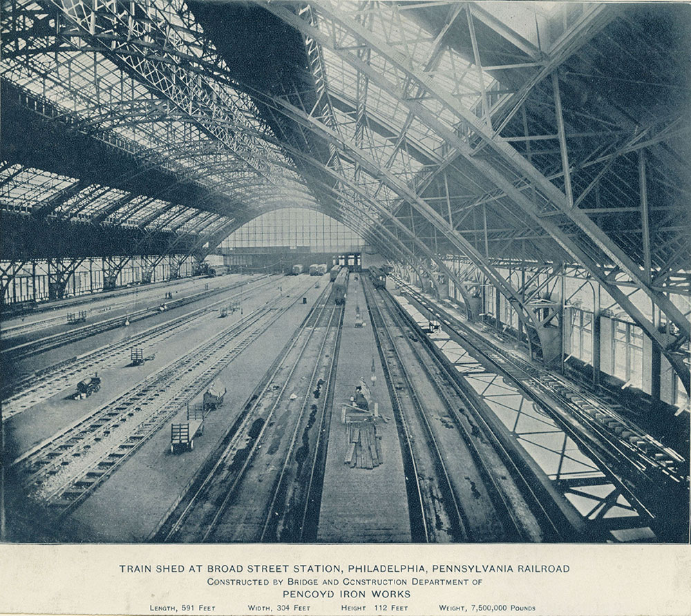 Interior of Train Shed at Broad Street Station.