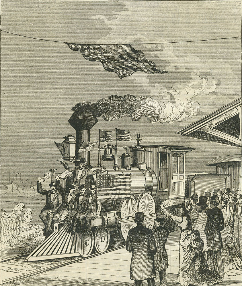 Arrival at Philadelphia of the first through train of the New York & Philadelphia Railroad