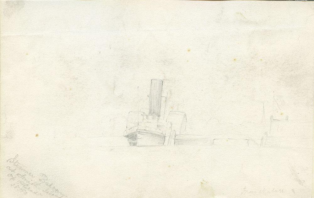 Steamboat docked at Smith Island off Philadelphia, 1850