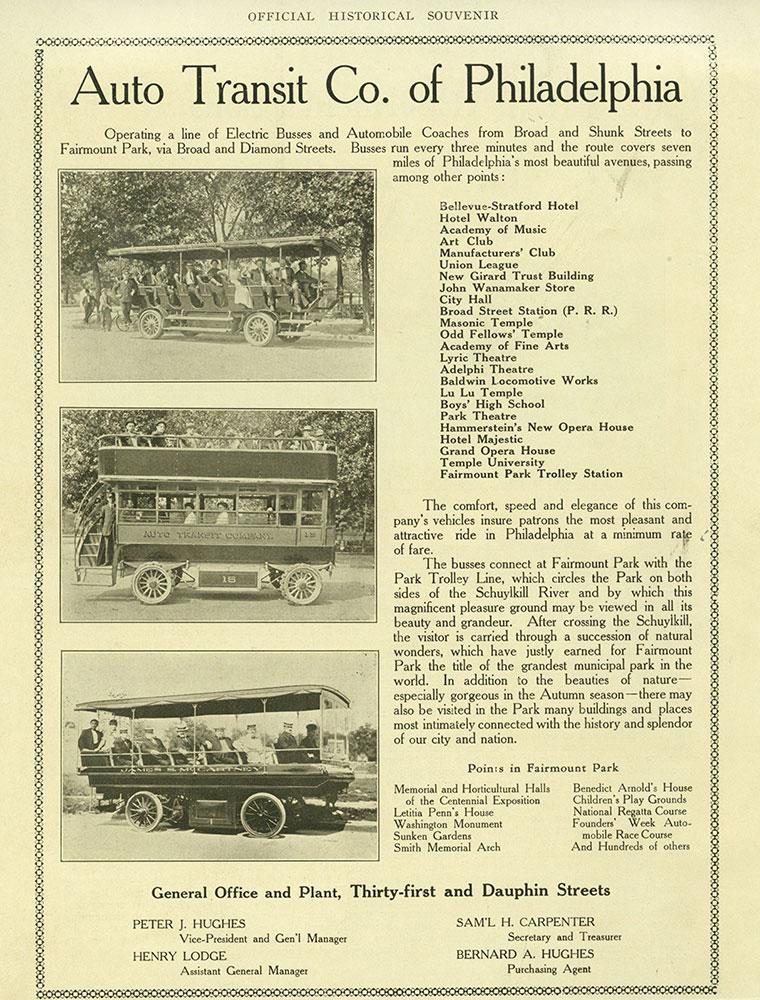 Auto Transit Co. of Philadelphia Advertisement.