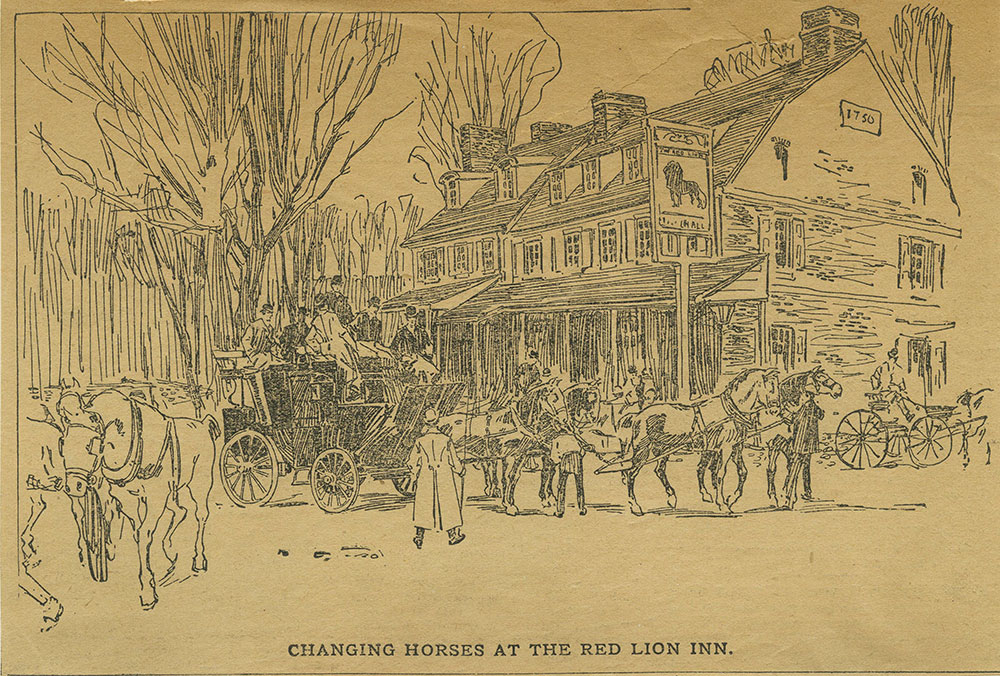 Changing Horses at the Red Lion Inn. [graphic]