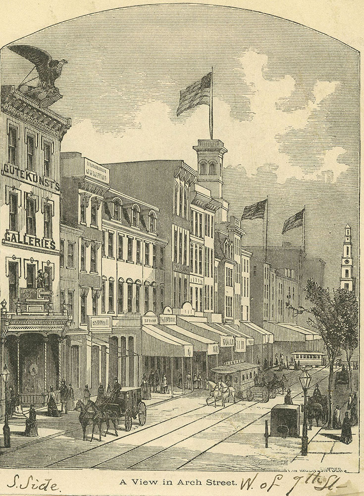 A View in Arch Street. [graphic] S. Side W. of 9th St.