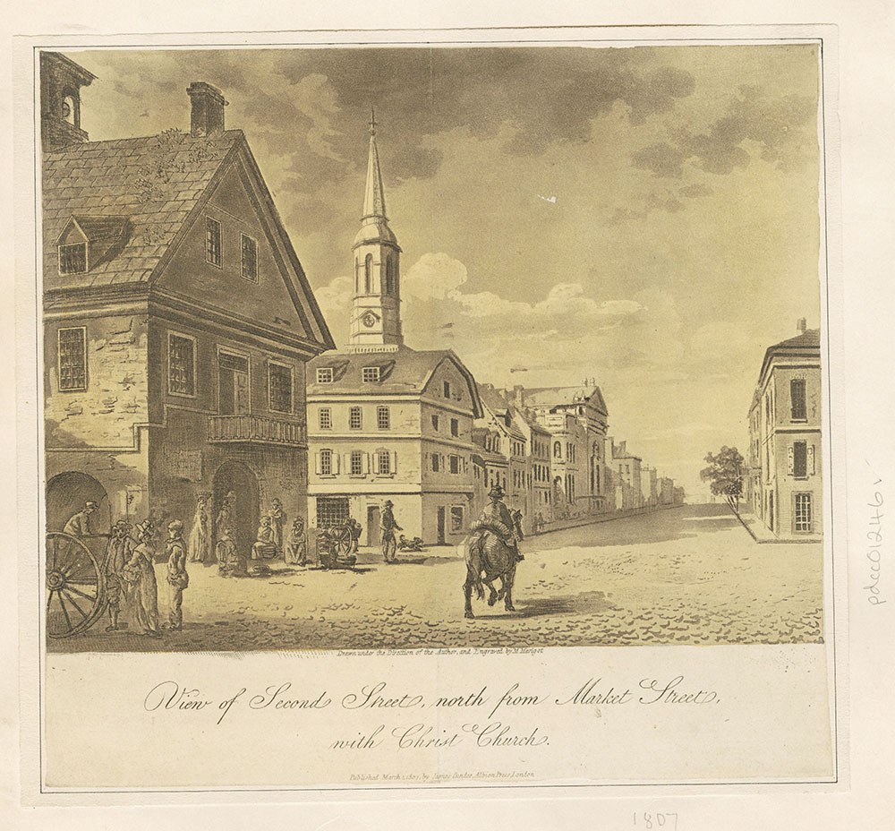 View of Second Street, north from Market Street, with Christ Church.
