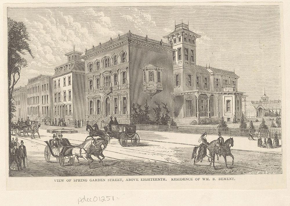 View of Spring Garden Street, above Eighteenth. Residence of Wm. B. Bement.