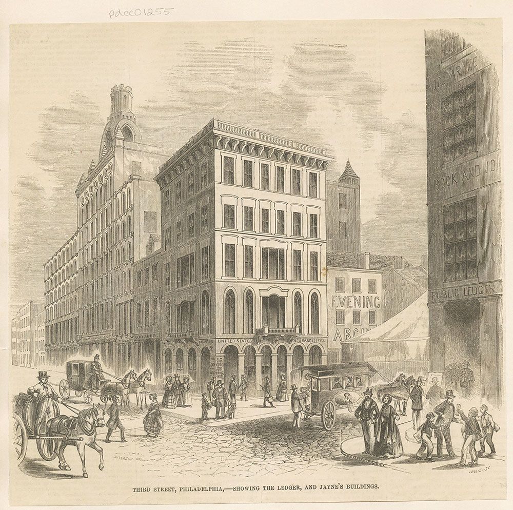 Third Street, Philadelphia, - Showing The Ledger, and Jayne's Buildings.