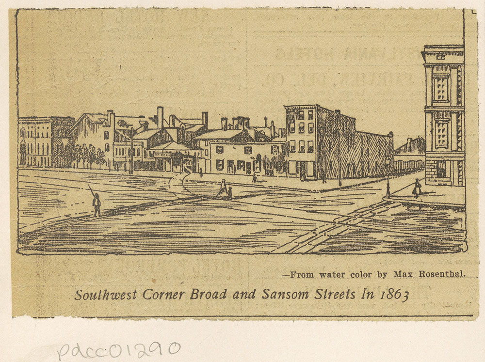 Southwest corner Broad and Sansom Streets in 1863