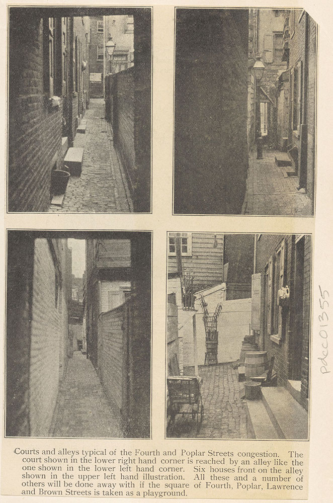Courts and alleys around Fourth & Poplar Streets.