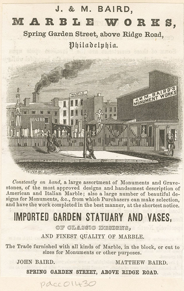 J. & M. Baird, marble works, Spring Garden Street, above Ridge Road, Philadelphia [graphic]