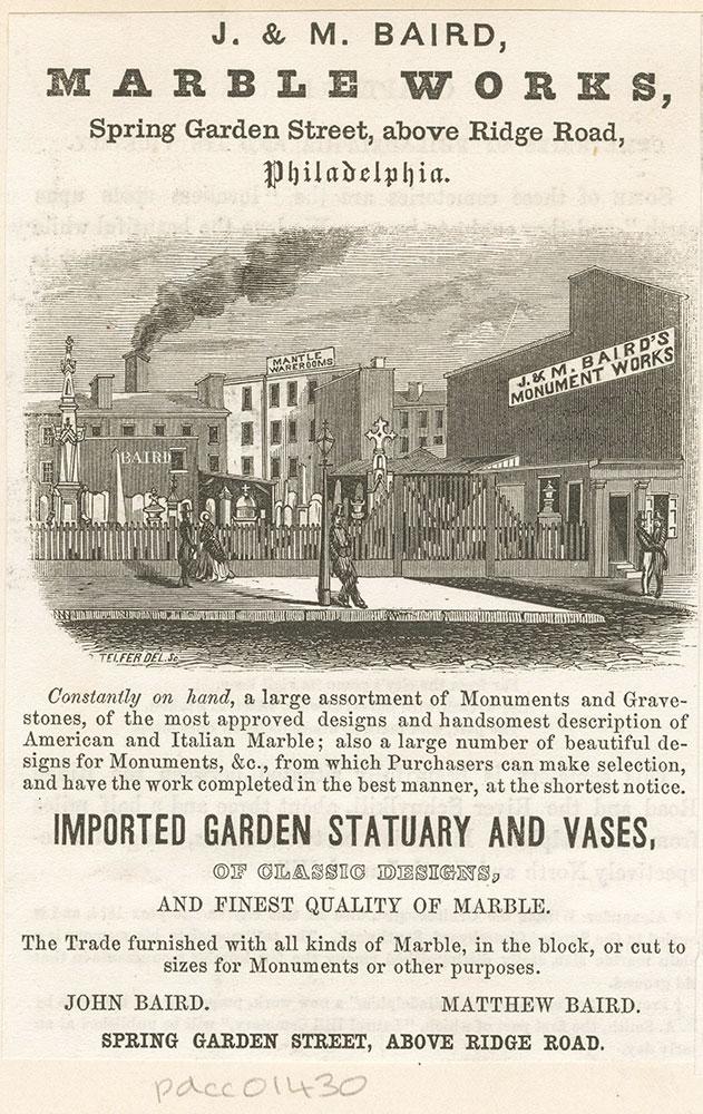 J. & M. Baird, marble works, Spring Garden Street, above Ridge Road, Philadelphia [graphic]