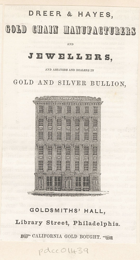 Goldsmith's Hall. Dreer & Hayes, gold chain manufacturers and jewellers [graphic]
