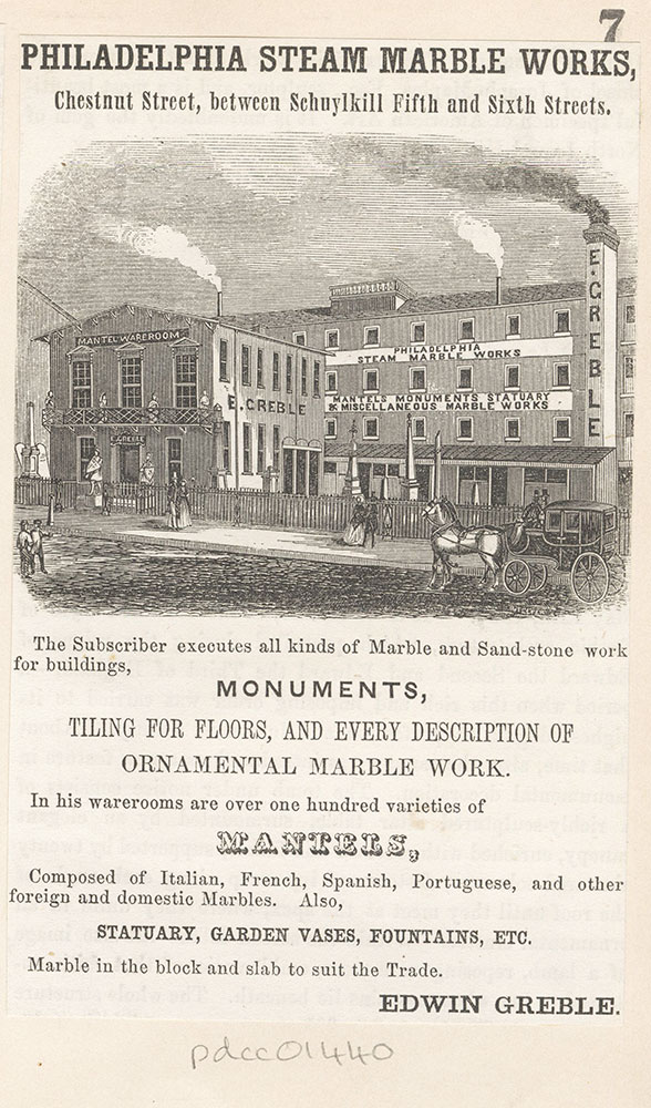 Philadelphia Steam Marble Works, Chestnut Street, between Schuylkill Fifth and Sixth Streets. Edwin Greble. [graphic]