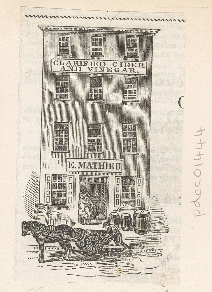 [E. Mathieu - clarified cider and vinegar. Lombard St. below 2nd] [graphic]
