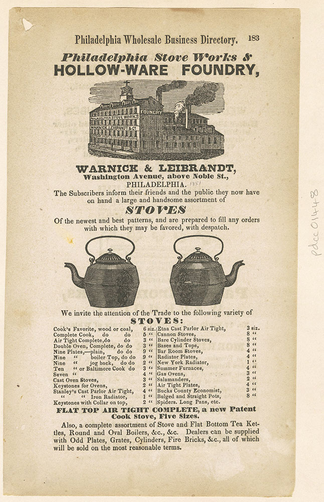 Warnick & Leibrandt's stove works & hollow-ware foundry. Washington Avenue, above Noble St. [graphic]