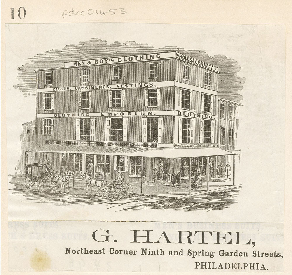 G. Hartel [Men and boy's clothing] Northeast corner Ninth and Spring Garden Streets [graphic]