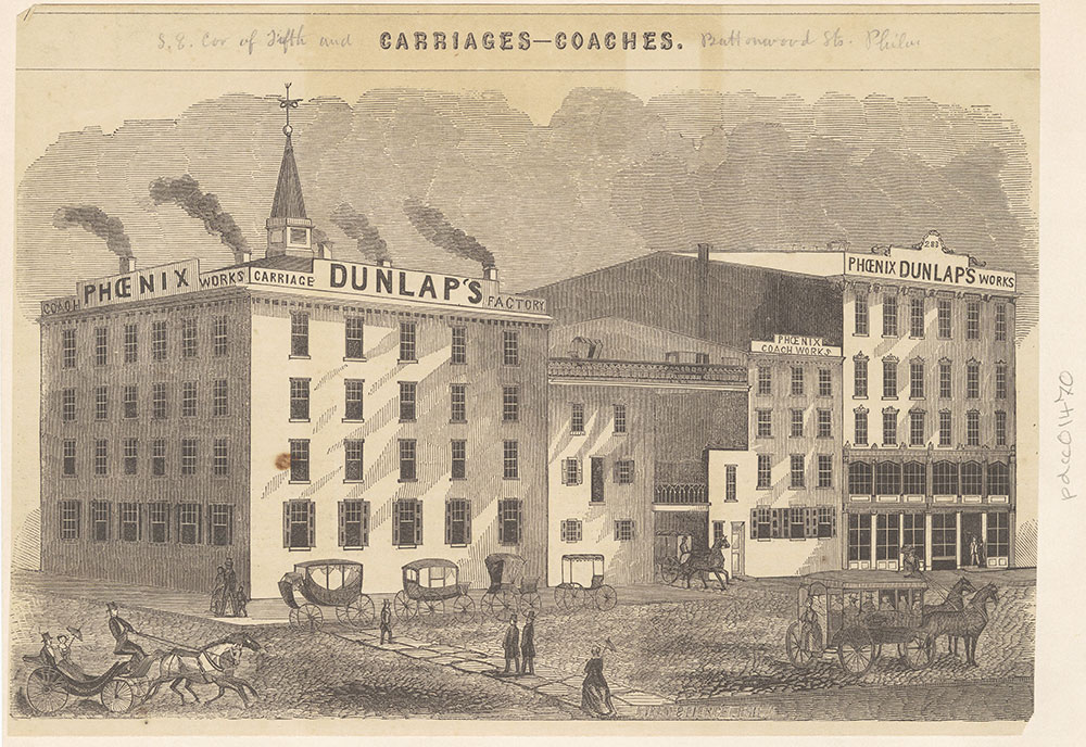[Dunlap's Phoenix Coach Works. corner of Fifth & Buttonwood Streets] [graphic]