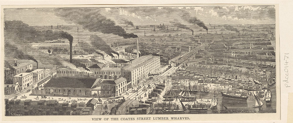 View of the Coates Street Lumber Wharves [graphic]