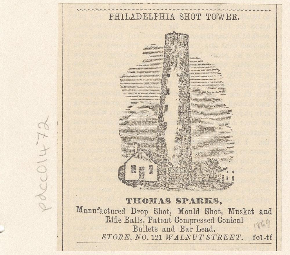Philadelphia Shot Tower. Thomas Sparks. [graphic]