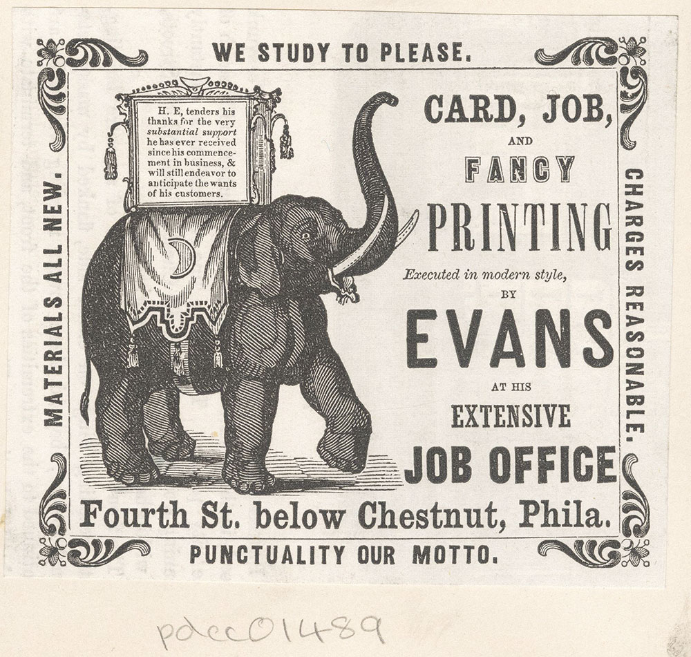 Evans Co., card, job and fancy printing. Fourth Street below Chestnut, Phila.
