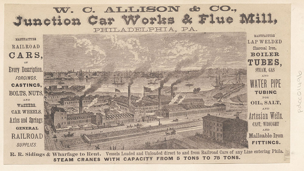 W. C. Allison & Co., Junction Car Works & Flue Mill, Philadelphia, Pa. [graphic]