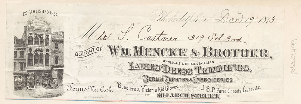 Wm. Mencke & Brother, ladies dress trimmings, 804 Arch Street. [graphic]