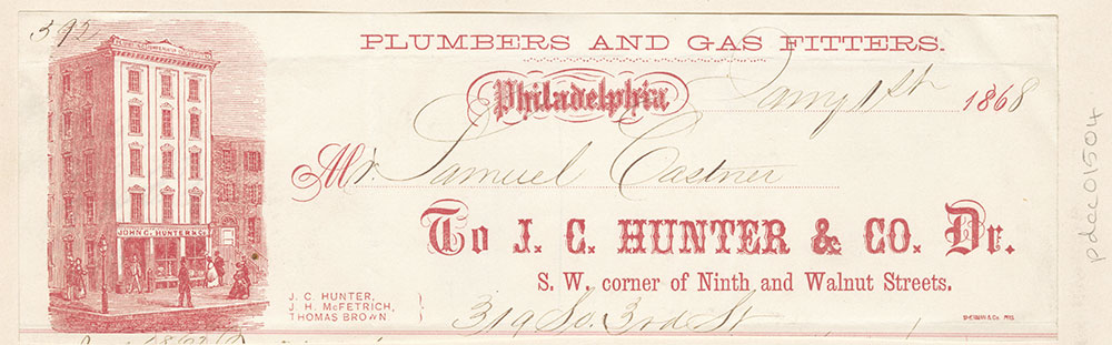 John C. Hunter & Co., plumbers and gas fitters. Billhead [graphic]
